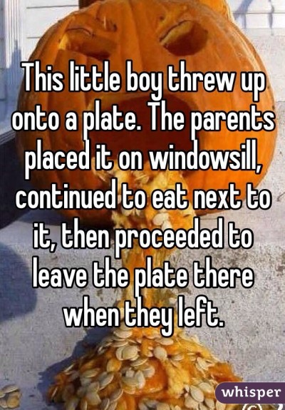 This little boy threw up onto a plate. The parents placed it on windowsill, continued to eat next to it, then proceeded to leave the plate there when they left.